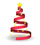 Christmas tree. Shape illustration with red ribbon, lights and shadow Royalty Free Stock Photography
