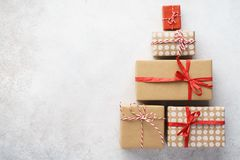 Free Christmas Tree Shape Made Of Gift Boxes On Light Gray Background Stock Photography - 162733942