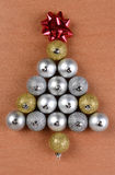 Christmas Tree Shape Made From Ornaments Stock Photography