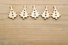 Christmas tree shape made of wood on wooden table Royalty Free Stock Photography