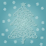 Christmas Tree Shape Maze Game vector illustration