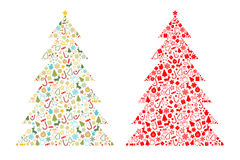 Christmas tree shape. On white background vector illustration Royalty Free Stock Images