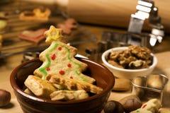 Christmas tree shaped cookie Stock Photos