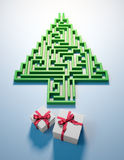 Christmas Tree shaped maze Royalty Free Stock Images