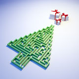 Christmas Tree shaped maze Stock Photos