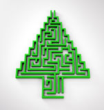 Christmas Tree shaped maze Royalty Free Stock Photo