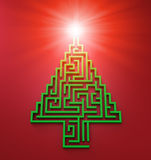 Christmas Tree shaped maze Royalty Free Stock Photography