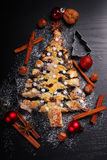 Christmas tree shaped poppy cake royalty free stock photography