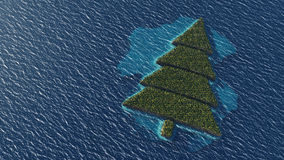 Christmas tree-shaped tropical island Stock Images