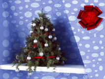Christmas tree on the shelf. 3d rendering Royalty Free Stock Photos