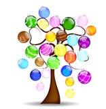 Christmas tree with shining balls. Illustration with cheerful Christmas tree with shining balls Stock Photo