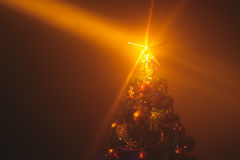 Christmas tree with shining star and dense mist Royalty Free Stock Photography