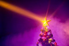 Christmas tree with shining star and frozen mist Stock Photos