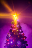 Christmas tree with shining star and frozen mist Royalty Free Stock Photos