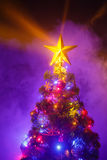 Christmas tree with shining star and frozen mist Stock Photography
