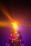 Christmas tree with shining star Royalty Free Stock Image