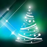 Christmas tree and shining stars. Christmas green background Stock Images