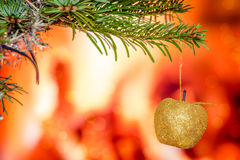 Christmas tree with a shiny apple Royalty Free Stock Photography