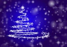 Christmas tree on shiny blue background. Abstract Christmas tree on shiny blue background. Vector one Royalty Free Stock Photo