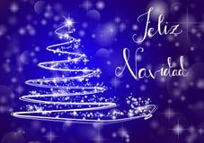 Christmas tree on shiny blue background with the writing. Abstract Christmas tree on shiny blue background with the writing `Merry Chistmas` in spanish `Feliz Stock Images