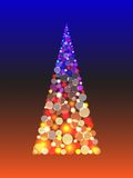 Christmas tree with shiny blur boke lights Royalty Free Stock Photos