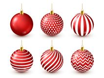 Christmas Tree Shiny Red Balls Set. New Year Decoration. Winter Season. December Holidays. Greeting Gift Card Or Banner. Element royalty free illustration