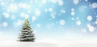 Christmas tree with shiny star, New Year background royalty free illustration