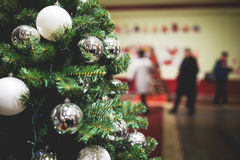 Christmas tree in shop lobby Royalty Free Stock Images