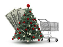 Christmas tree, shopping cart and dollar bills Stock Photos