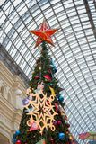 Christmas tree in the shopping center stock photography