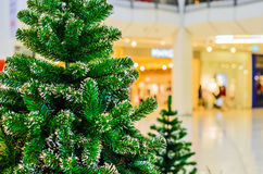 Christmas tree at shopping mall. And blur background Stock Images