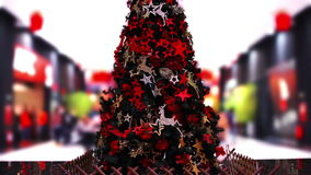 Christmas Tree in shopping mall stock video footage