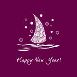 Christmas tree sign. Christmas tree with snow on the violet background Stock Image
