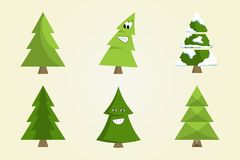Christmas Tree Sign Board Collection Spruce Icons. Christmas tree sign board collection of spruce icons with snow decorative elements, emoji pines vector Royalty Free Stock Image