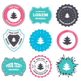 Christmas tree sign icon. Holidays button. Label and badge templates. Christmas tree sign icon. Holidays button. Retro style banners, emblems. Vector Royalty Free Stock Photos