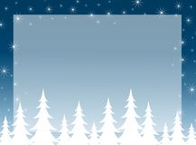 Christmas Tree Silhouette Background. A clip art illustration of blue Christmas tree silhouettes and snowflakes falling as a background Stock Images