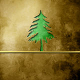 Christmas tree silhouette on brown background. Christmas greeting cards, Christmas tree silhouette on brown background with empty space for text Stock Photography