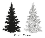 Christmas Tree Silhouette, Contours and. Christmas Spruce Fir Tree Black Silhouette, Contours and Inscriptions Isolated on White Background. Vector Stock Photos