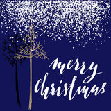 Christmas tree silhouette, design for greeting card. Vector hand drawn illustration for design. Christmas lettering Stock Images