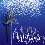 Christmas tree silhouette, design for greeting card. Vector hand drawn lettering for design. Gold Christmas lettering Royalty Free Stock Photos