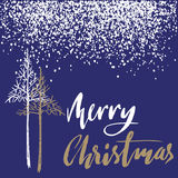 Christmas tree silhouette, design for greeting card. Vector hand drawn lettering for design. Gold Christmas lettering Stock Photos