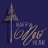 Christmas tree silhouette, design for greeting card. Vector hand drawn lettering for design. Gold Happy New Year Royalty Free Stock Photo
