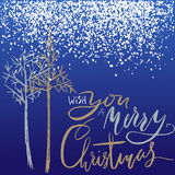 Christmas tree silhouette, design for greeting card. Vector hand drawn lettering for design. Gold and silver Christmas Stock Photography