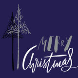 Christmas tree silhouette, design for greeting card. Vector hand drawn lettering for design. Silver Christmas lettering Royalty Free Stock Photo