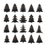 Christmas tree silhouette design vector set. Concept tree icon collection Stock Photos