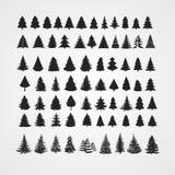 Christmas tree silhouette design vector set Stock Image