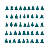 Christmas tree silhouette design vector set. Concept tree icon c. Ollection.  on white background Stock Image