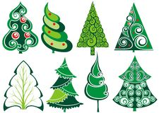 Different Christmas tree set. Christmas Tree silhouette icons set.Winter design. Vector illustration royalty free illustration