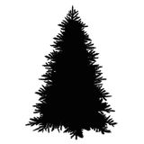 Christmas tree silhouette. Isolated on white background Royalty Free Stock Photos
