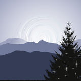 Christmas Tree silhouette on a mountain background. 2d vector Stock Images